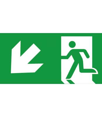 Evacuatie pijl Linksonder